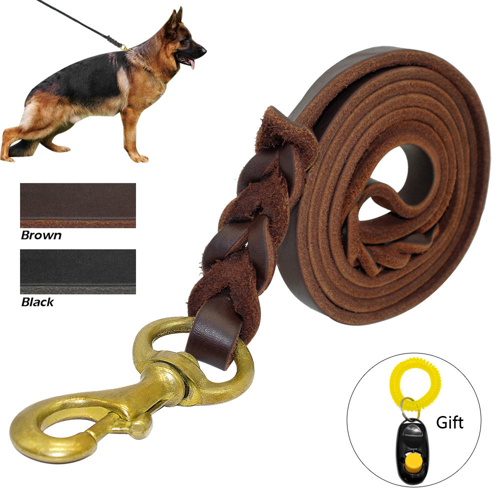 Flätad läderhund Leash Pet K9 Walking Training Leash Lead För Medium Large Dogs German Shepherd Gift Dog Training Clicker