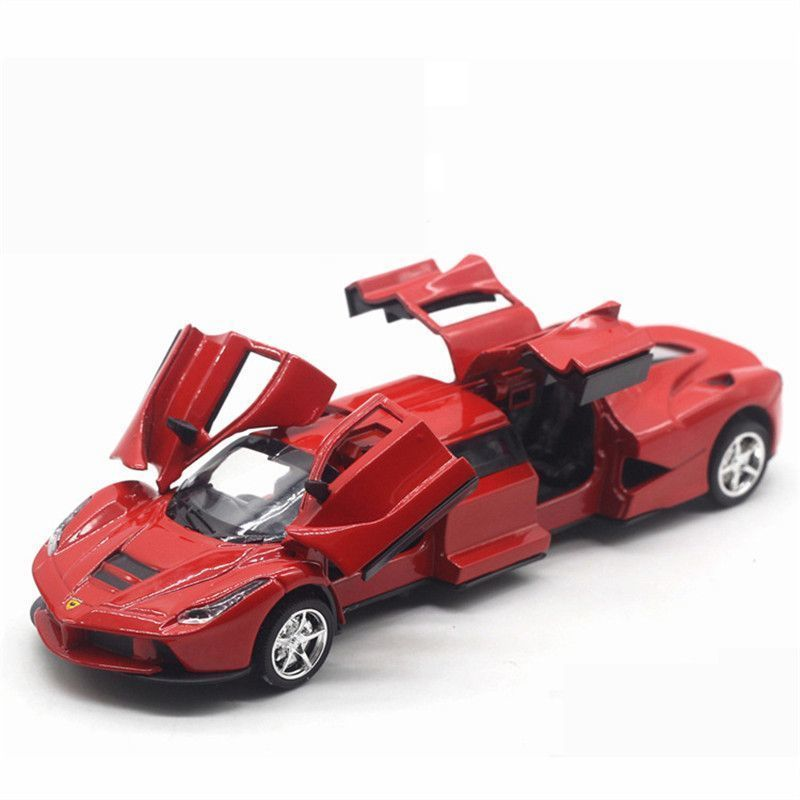 1:32 Lengthened Sports Car Model Alloy Pull Back Car Models Toy With Light Sound Extended Cars Model For Children Good Boy Gifts