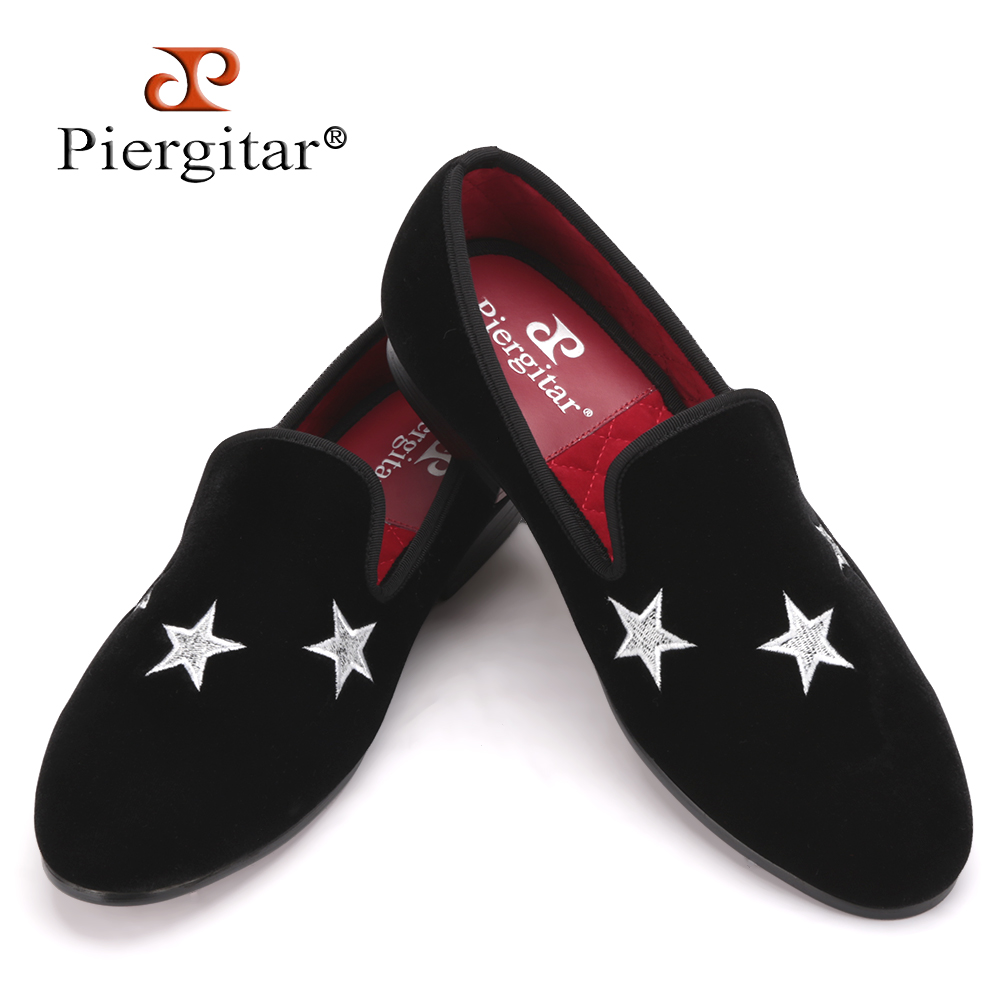 Men Piergitar Handmade Black Velvet Slippers Loafers With Star wedding and party shoes Size US 4-17 Free shipping luxurious handmade embroidered motif paisley men velvet loafer slippers men wedding and party shoe size 4 14 free shipping