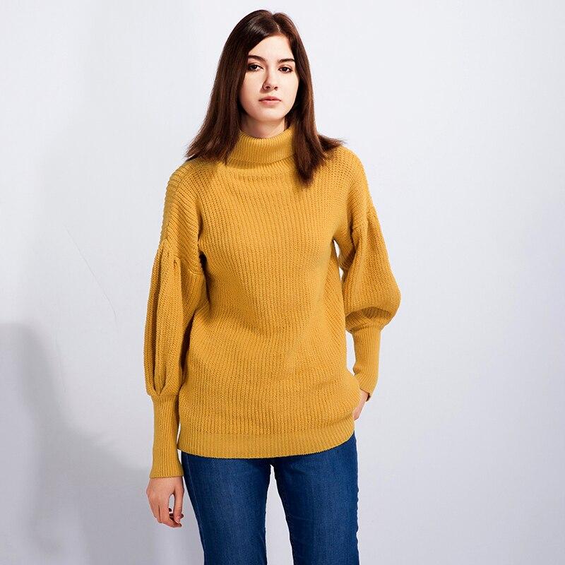 1 Pc Mode Stil Frauen Rollkragen Laterne Ärmeln Pullover Neue Mode Weibliche Kintted Pullover Damen Pullover Pull Femme Einfach Und Leicht Zu Handhaben