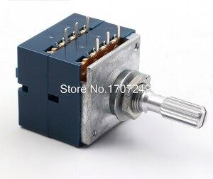 1 pc 10 k 20 k 50 k 100 k 250 k 500 k japão alpes rk27 duplo potenciômetro estéreo 10 500500kax2 serrilhado eixo rk27 interruptor rotativo 6pin