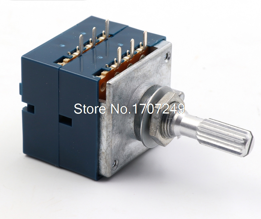 1Pc 10K 20K 50K 100K 250K 500K Japan ALPS RK27 Double stereo potentiometer 10~500KAX2 Knurled Shaft RK27 Rotary switch 6pin 2017 1pc japan