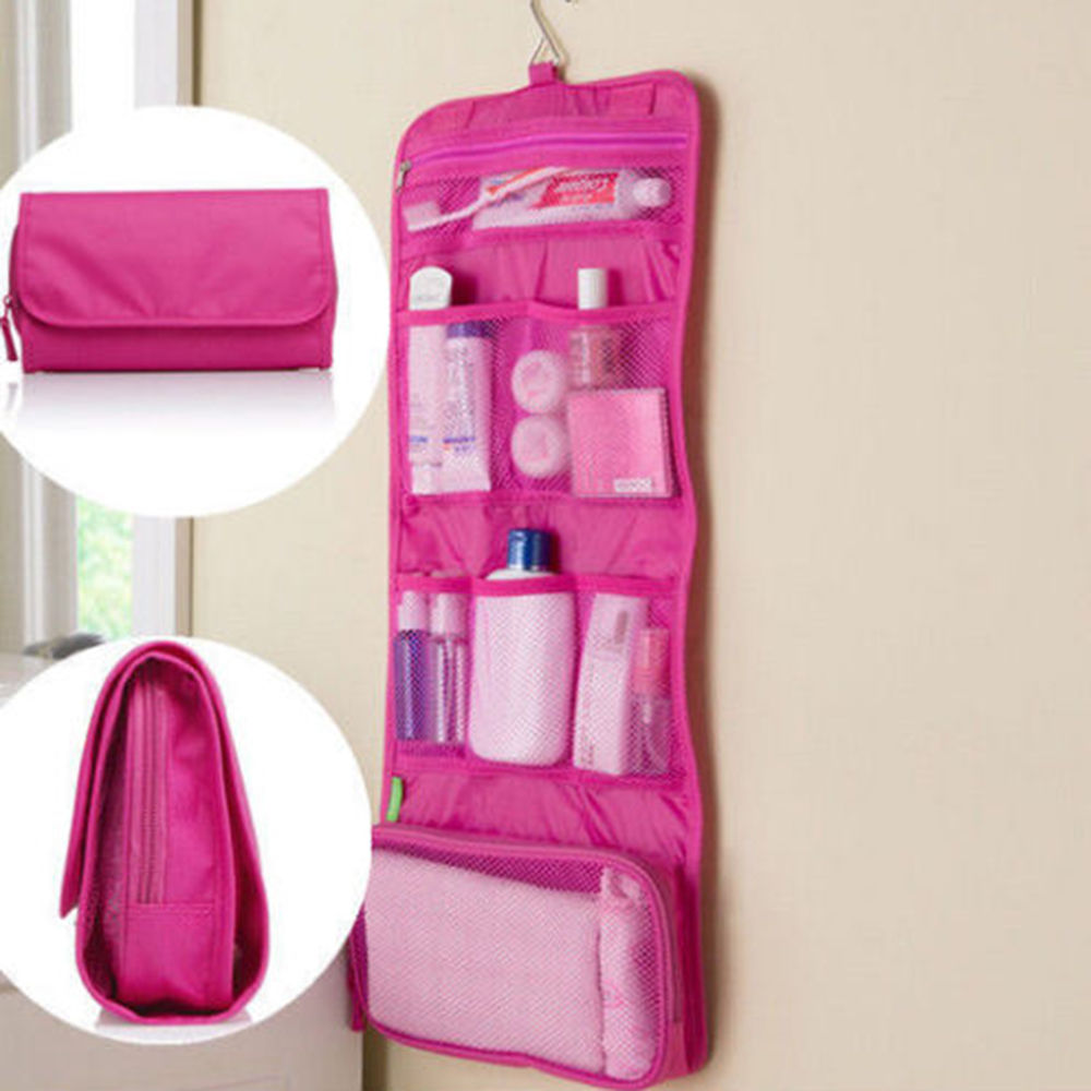 Foldable Travel Toiletry Pouch Wall Hanging Makeup Storage