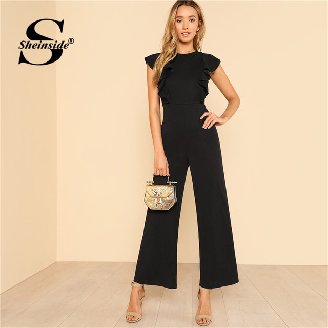 Sheinside Black Ruffle Jumpsuit Women Round Neck Sleeveless Summer Jumpsuit 2018 Office Work Wear Elegant Wide Leg Jumpsuit