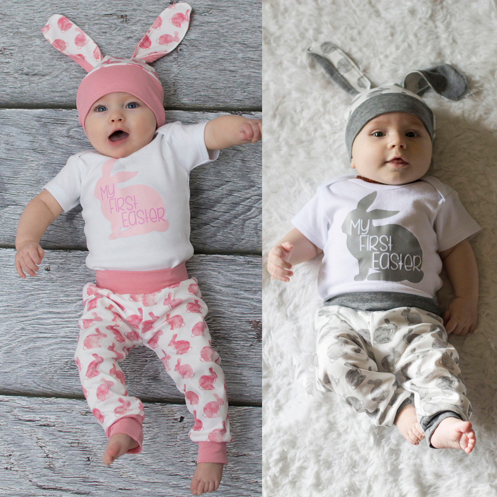 US Newborn Kid Baby Girl Animal Summer Clothes Romper Tops Long Pants Outfit Set