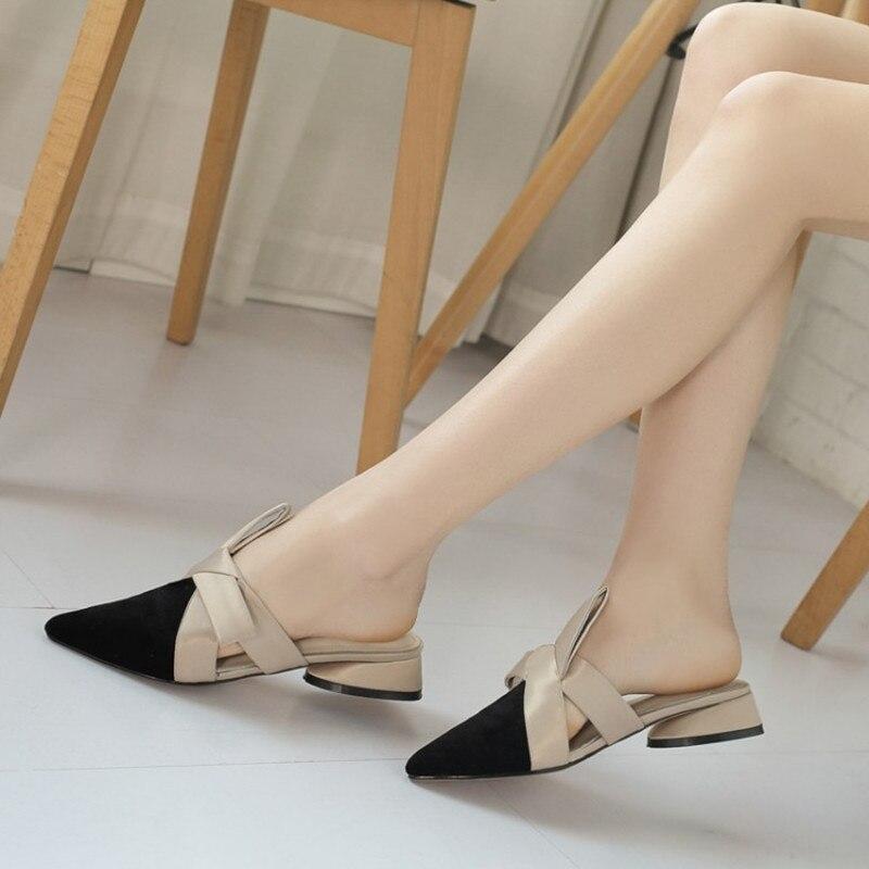 Pointu Photo Véritable Pantoufles Bowknot Femmes Photo 34 Plat As Bout Chaussures 43 Sur Taille as Ruban Papillon Printemps Air En Plein Diapositives Glissement Cuir Casual P8wBxqf