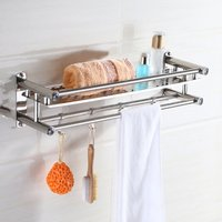 Rvs Handdoekhouders Rack Holder Shelf Bad Wc Badkamer Washroom Wall Mounted Kleding Organizer Opslag Zeep Spons