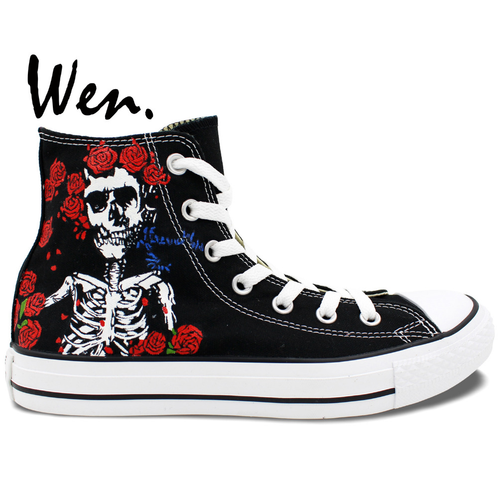 Wen Black Hand Painted Shoes Design Custom Grateful Dead Skull High ...