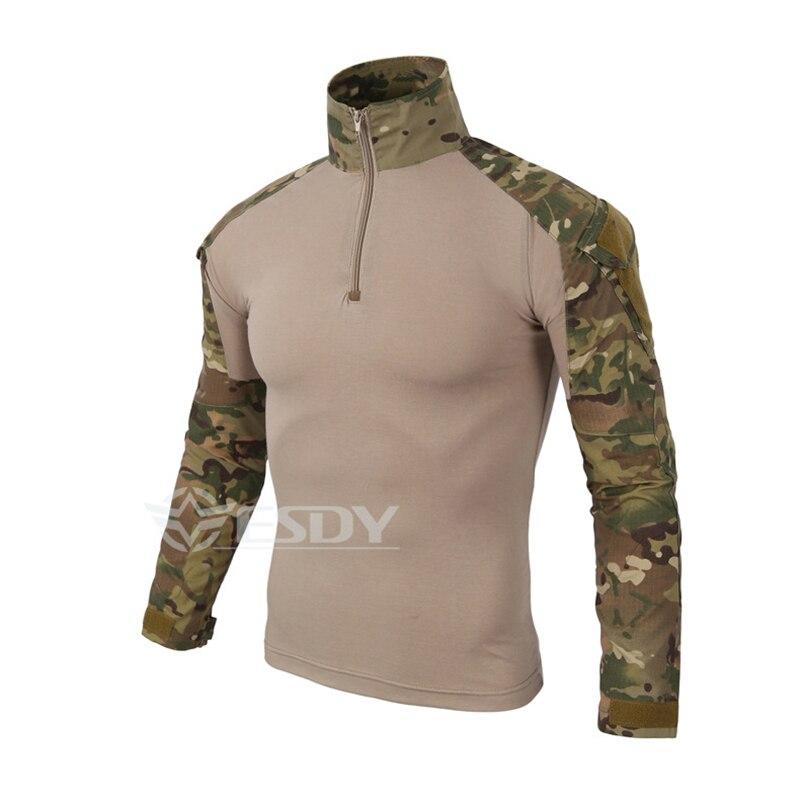 Prix pour Camouflage Militaire Uniforme de Combat Hommes Chemise Fret Airsoft Paintball En Plein Air Randonnée T-shirts Camping Tactique Marque Vêtements
