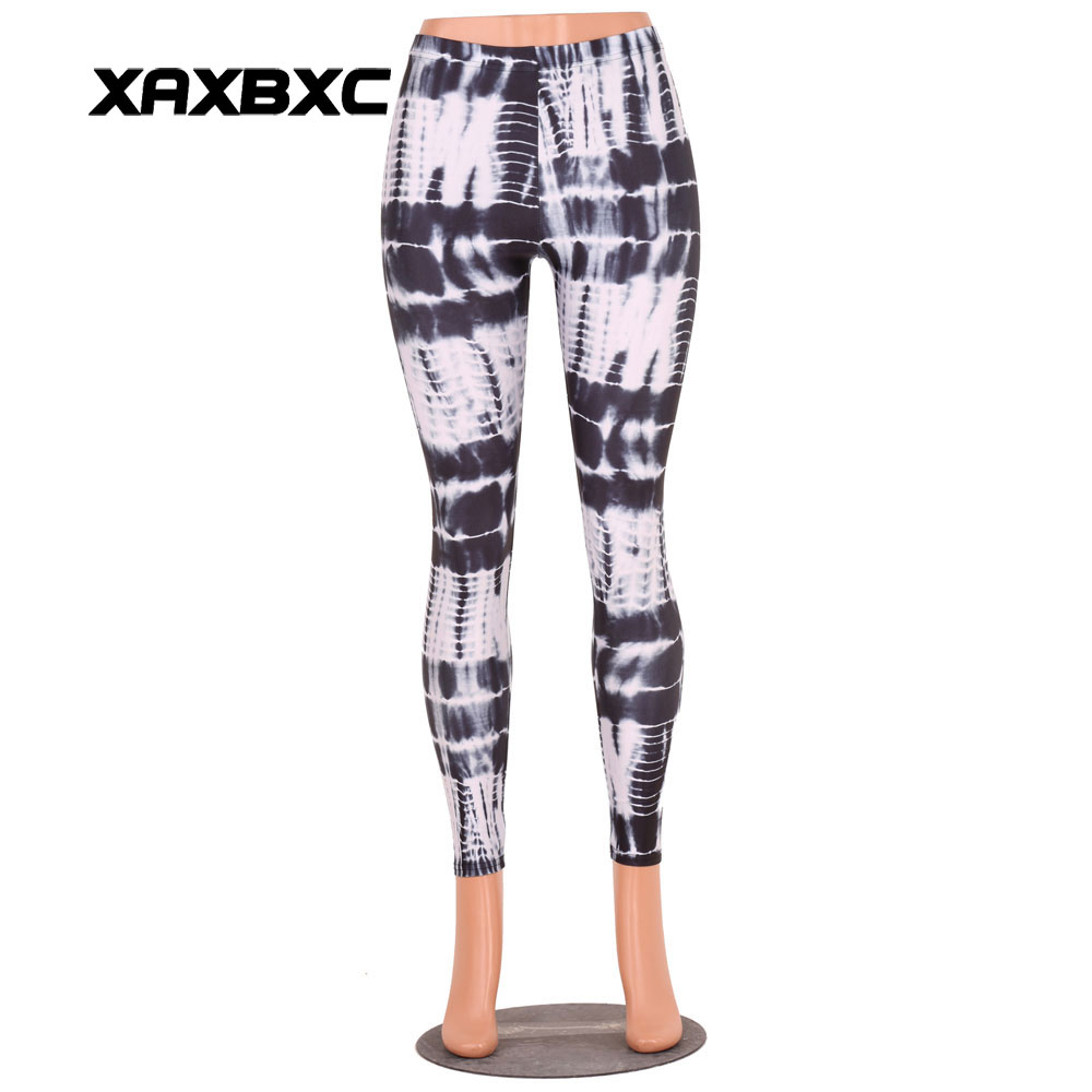 XAXBXC B3015 Fashion Sexy Girl Pencil Pants Tie-dyed Black Stamp Lines Printed Elastic Slim Fitness Workout Women Leggings
