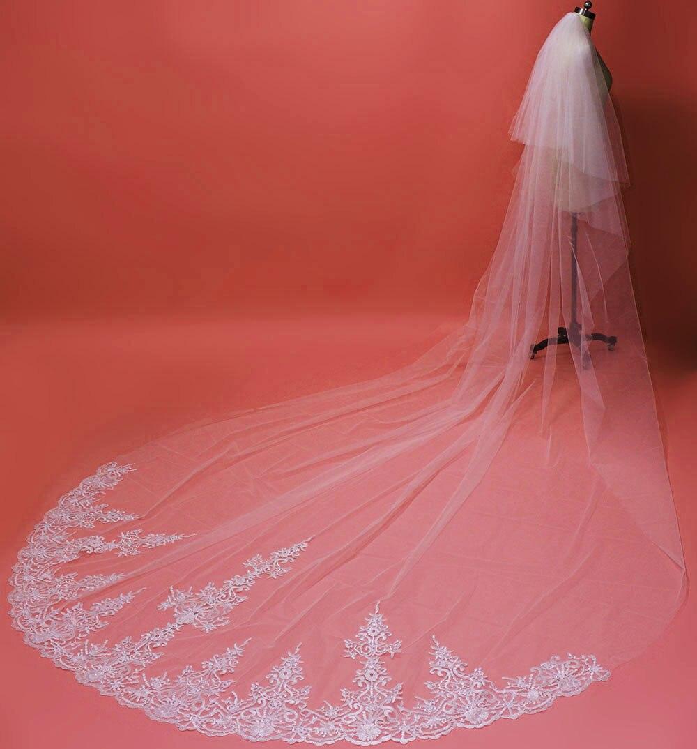 Lace Appliques 4 M Long Bridal Veil With Blusher 2 Layers Elegant Wedding Veil Velos De Bovia Largos