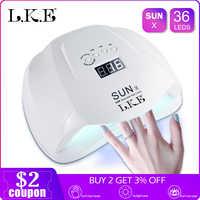 LKE SUNX 48W 54W secador de uñas UV LED lámpara de uñas Gel polaco lámpara de curado con fondo 30s /60s temporizador LCD pantalla lámpara para secador de uñas