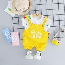 2019 Summer Baby Girls Boys Clothing Sets Infant Toddler Clothes Suits T Shirt Strap Shorts Kids Children Casual Suit цена и фото