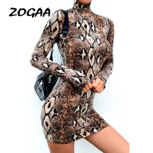 ZOGAA Women Long Sleeve Snake Skin Pattern Print Bodycon Stretch Midi Party Dress Club long sleeve dress vestidos verano 2019