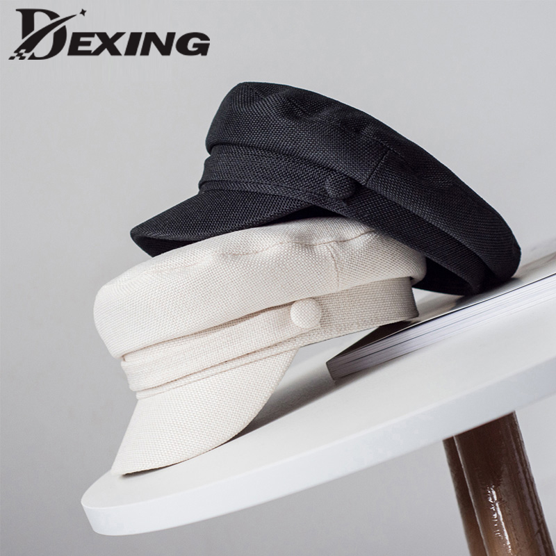 Spring Artificial linen Breathable solid   baseball     cap   Women Summer Mesh Flat top military bone Sun   cap   Gorras casual Hat