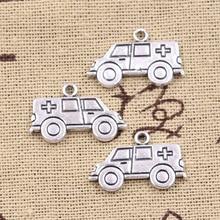 15 Uds encantos Hospital ambulancia Escort Car 13x22mm Fabricación de colgantes hechos a mano ajuste, color plata tibetana Vintage, DIY para collar