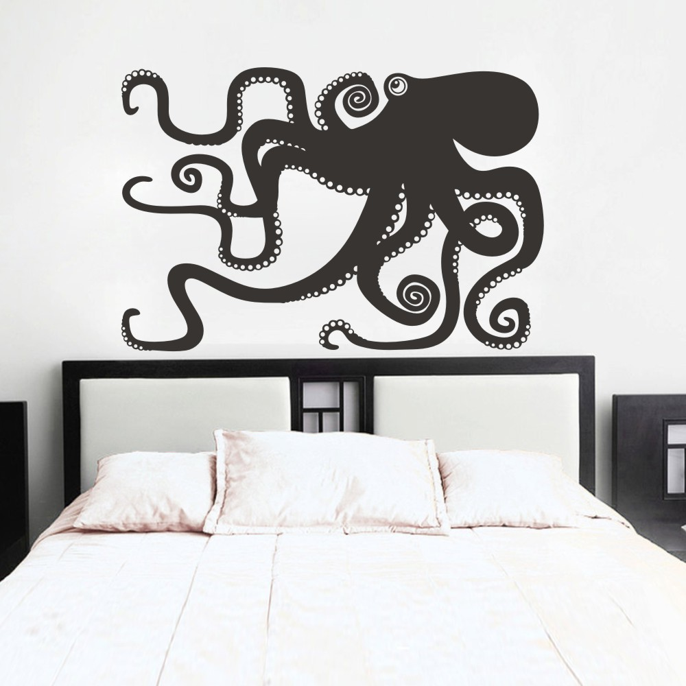 Bathroom wall art sea - Large Octopus Decal Ocean Wall Decor Sea Octopus Wall Art Bathroom Bedroom Living Room Sticker 133cm