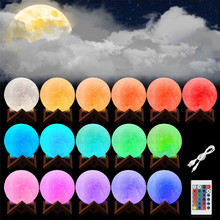 10/20/22/24CM 3D Printed Moon Lamp LED Baby Night Light Table Desk Lamp USB Charging Wooden Base Touch Lunar Lamp best gift