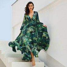Long Sleeve Dress Green Tropical Beach Vintage Maxi Dresses Boho Casual V Neck Belt Lace Up Tunic Draped Plus Size Dress z0522