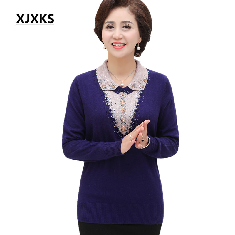 XJXKS Loose plus size comfortable high end cashmere sweater women 2018 autumn winter new fashion beaded