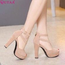 QUTAA 2017 Women Pumps Summer Black Ladies Shoe Square High Heel Peep Toe PU Leather Zipper Woman Wedding Shoes Size 34-43