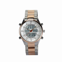 SUNROAD FR710A 5ATM Digital Altimeter Watch Men's Quartz Watch With Steel Strap High Quality Golden Color For Fishing Fan