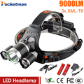 Led Headlight 9000Lm Lumens T6 headlamp 3x XM-L T6 LED Head Lamp 4-mode 18650 battery Headlamp Car charger for camping/fishing
