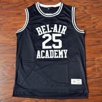 MM MASMIG Banques Carlton #25 Bel-Air Académie de Basket-Ball Jersey Piqué Noir S M L XL XXL XXXL