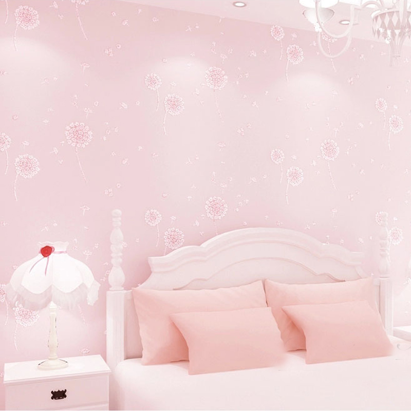 Dandelion Girls Bedroom Wallpaper Kids Non-Woven Embossed Glitter Wall Papers Home Decor Papel De Parede Printed Wallpaper Roll