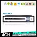 XMeye Hi3521A Chip 1080 P 2MP Full HD 4CH 4 Canais de Vigilância NVR híbrido Coaxial 5 em 1 CVI TVI AHD DVR Livre grátis