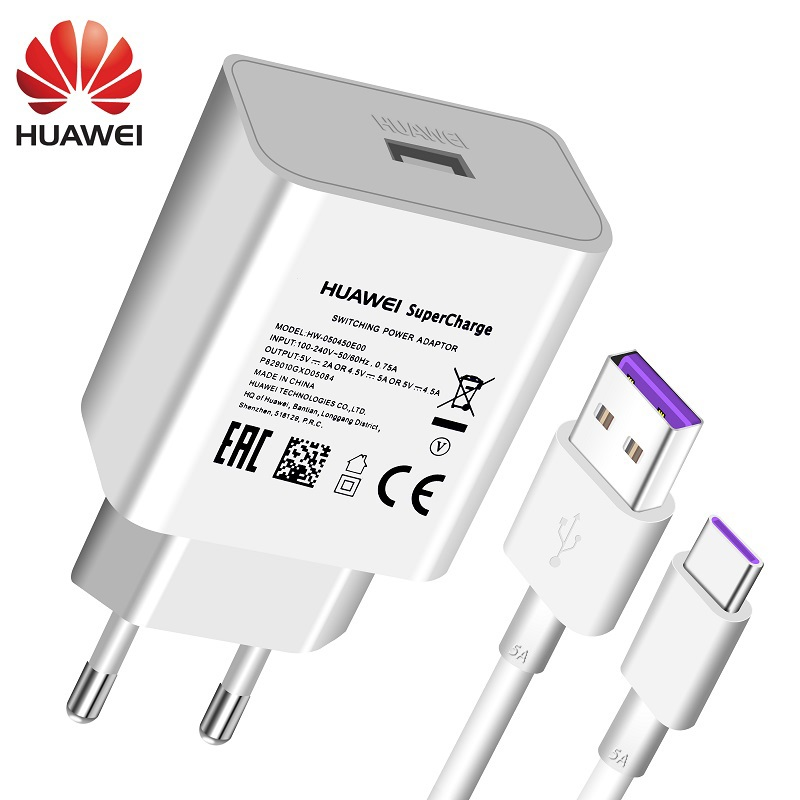 Huawei P20 Pro Lite USB Charger Wall Travel SuperCharge 100% Original 5V4.5A 5A USB Type C Cable Honor 10 V10 View10 Nova 3e