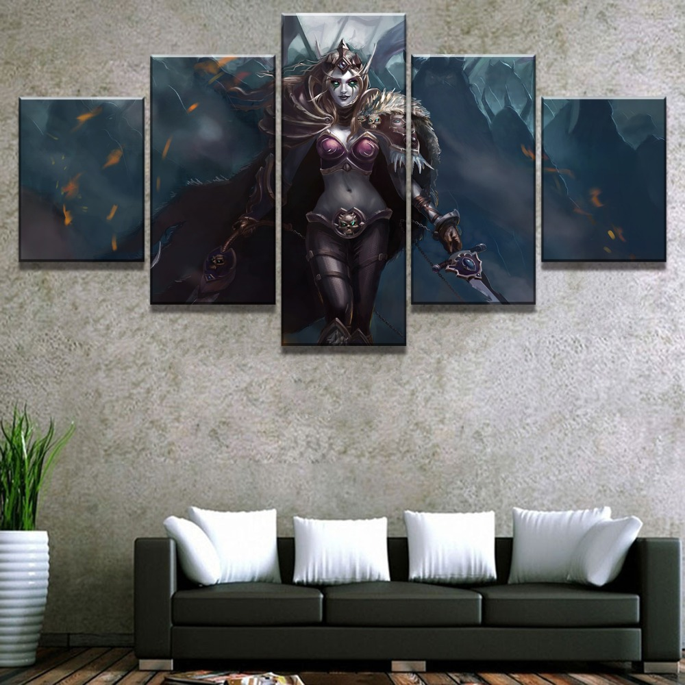 Hot-Sell-5-Piece-HD-Print-Warcraft-Sylvanas-Game-Modern-Decorative-Paintings-on-Canvas-Wall-Art (2)