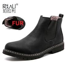 Ботинки «Челси» размера плюс 37-45 мужская зимняя обувь черные кожаные ботинки мужская обувь, теплые плюшевые зимние ботинки на меху для мужчин