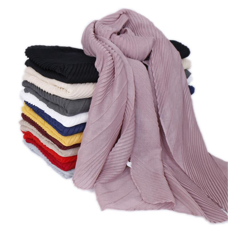 Wrinkle Cotton Hijab Scarf Plain Crinkle Shawls Muslim Scarves Headscarf Wraps Turbans Headband Scarves 10pcs/lot 12 Color