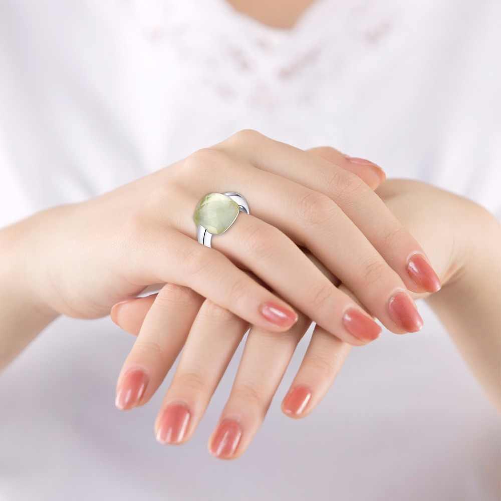 MetJaktธรรมชาติพลอยซิทริน925แหวนเงินสเตอร์ลิงกับธรรมชาติมะนาวหินสำหรับผู้หญิงเครื่องประดับปรับ