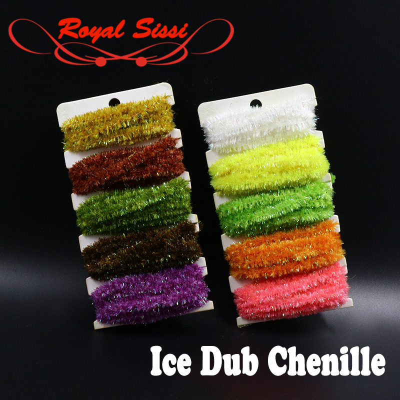 Royal Sissi 5colors set fly tying ice dub chenille yarn 5yards card Cactus sparkly Chenille saltwater flies fly tying materials