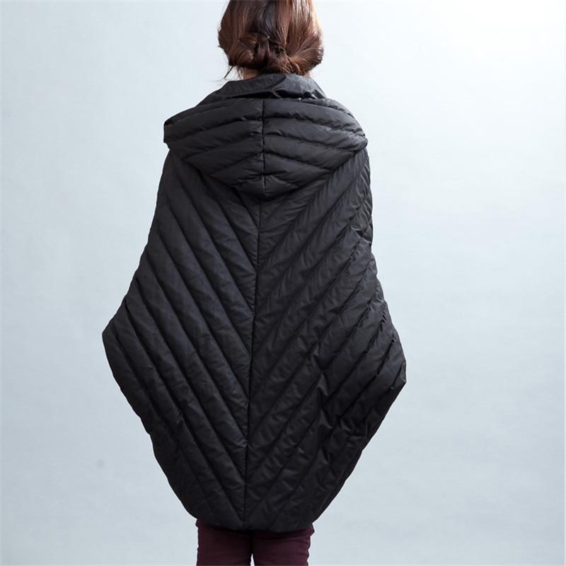 европа новинка; длинные плащ, пальто белая куртка с утиным пухом женские свободные большие размеры рукава летучая мышь сплошной цвет теплые парки mz975