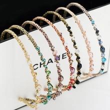 Красочные со стразами повязка для волос для женщин качественные металлические ободок для волос круг женские аксессуары для повязки на голову