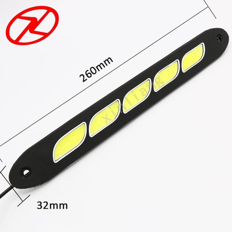 2PCS Saf Ağ LED Gündüz işləyən Yüngül Elastik DRL Suya - Avtomobil işıqları - Fotoqrafiya 6