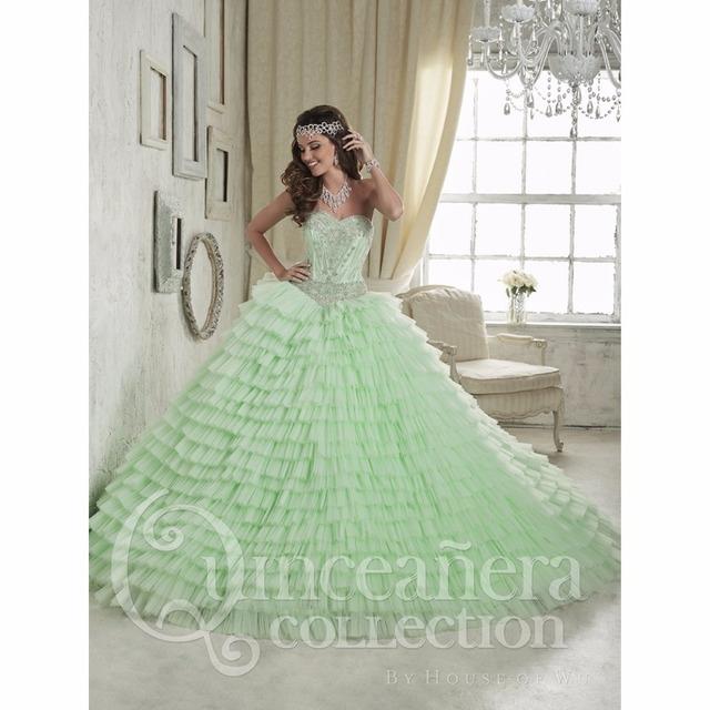 Gorgeous 2017 aqua vestidos en capas de novia sin espalda vestido de bola vestido de quinceañera debutante párr 15 anos dulce 16 vestido
