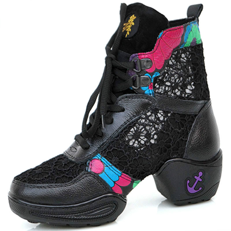 2016 Summer Genuine Leather Net Fabric High Boots For Jazz Dancers Lace Soft Dancing Boot Stage Performance Shoes Dance Sneakers цены онлайн