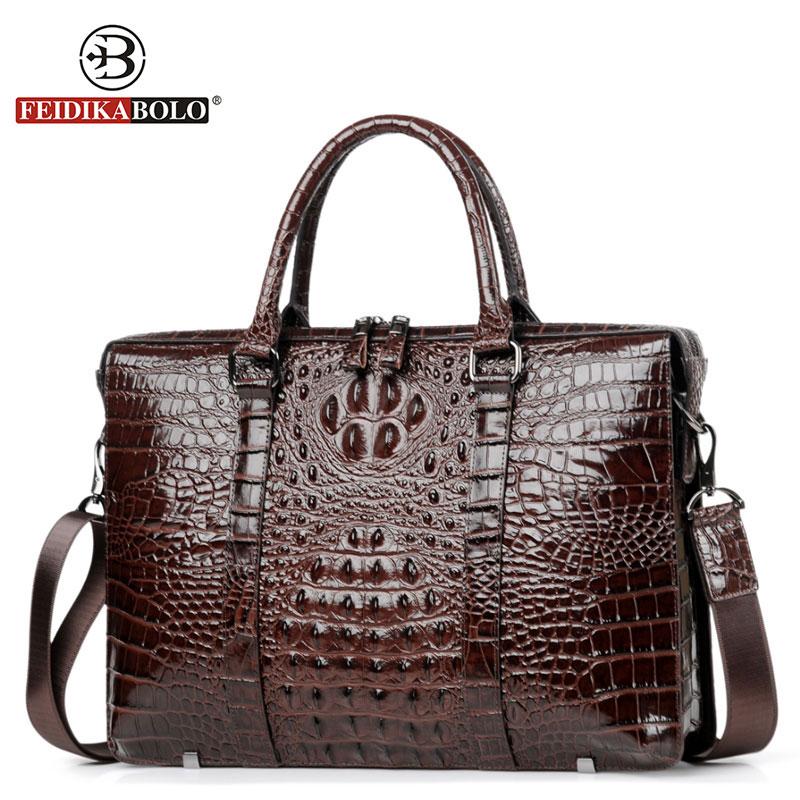 Genuine Leather Briefcase Men Handbags Famous NewFashion Shoulder Bags Alligator Crossbody Satchel Man Tote Bag Messenger Bags все цены