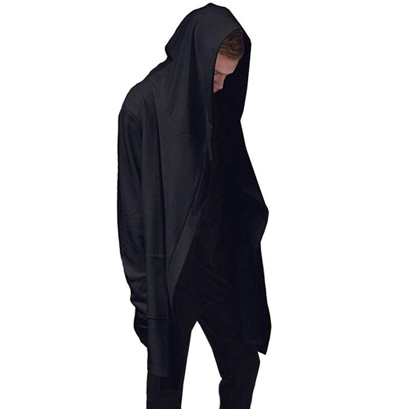Spirio Mens Casual Drawstring Hip-hop Solid Irregular Hem Middle Length Hoodie Pullover Sweatshirt
