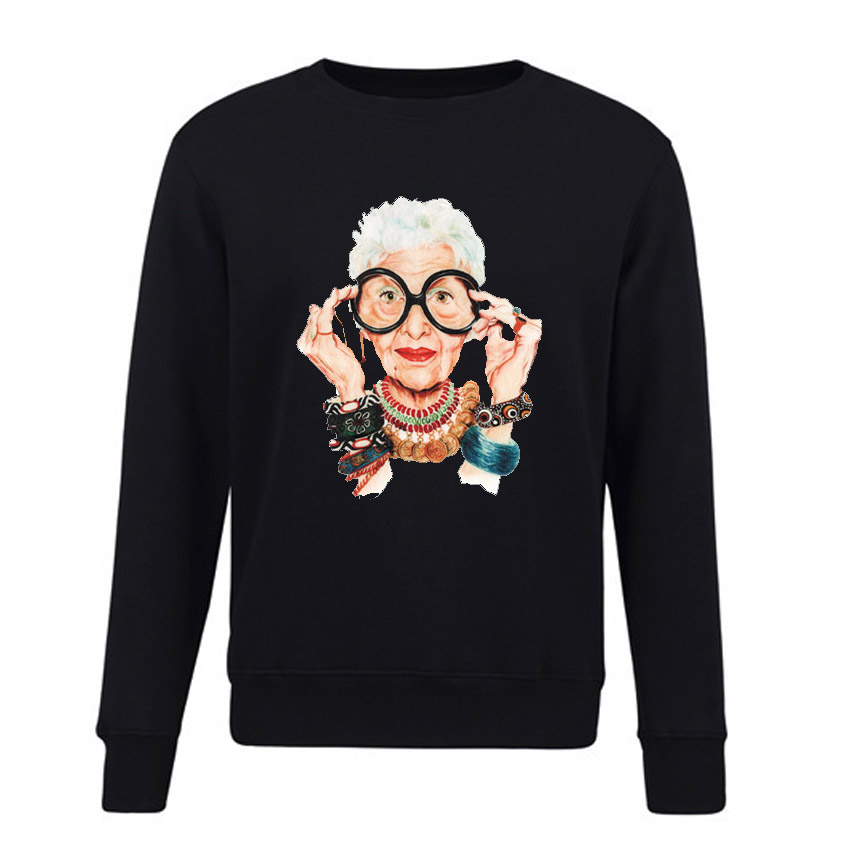 Women Sweatshirt 2018 Fashion IRIS APFEL Printed Hoody Pullover Autumn Winter Fleece Streetwear Women Casual Sweatshirts