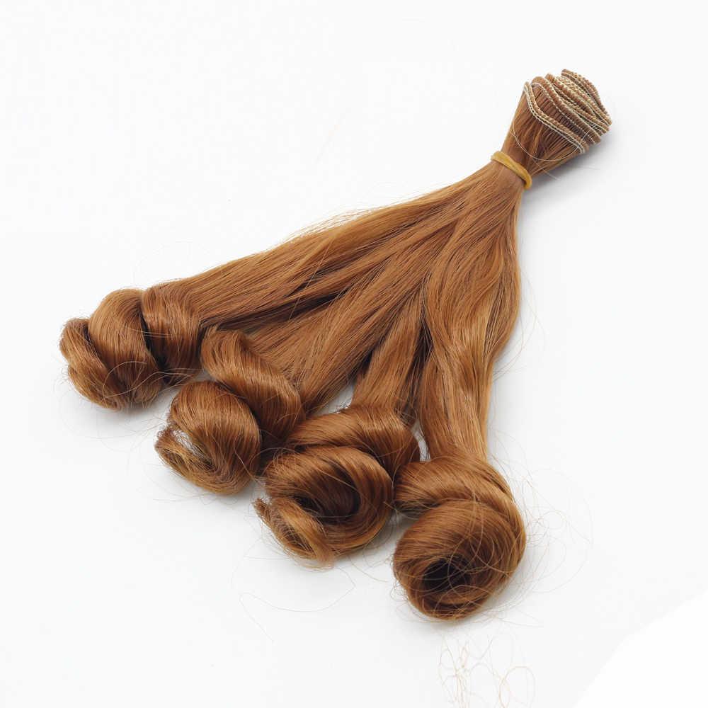 """בובת שיער צבע טבעי שחור חאקי חום מתולתל פאות בובה 1/3 1/4 1/6 BJD פאות diy 18*100 ס""""מ ep003"""