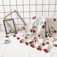New Arrivals Strawberry/Cherry Children's/Kids/Adults Cotton Thread Knitted Blanket Throw Bedding Sofa/Air Mantas 100*150cm