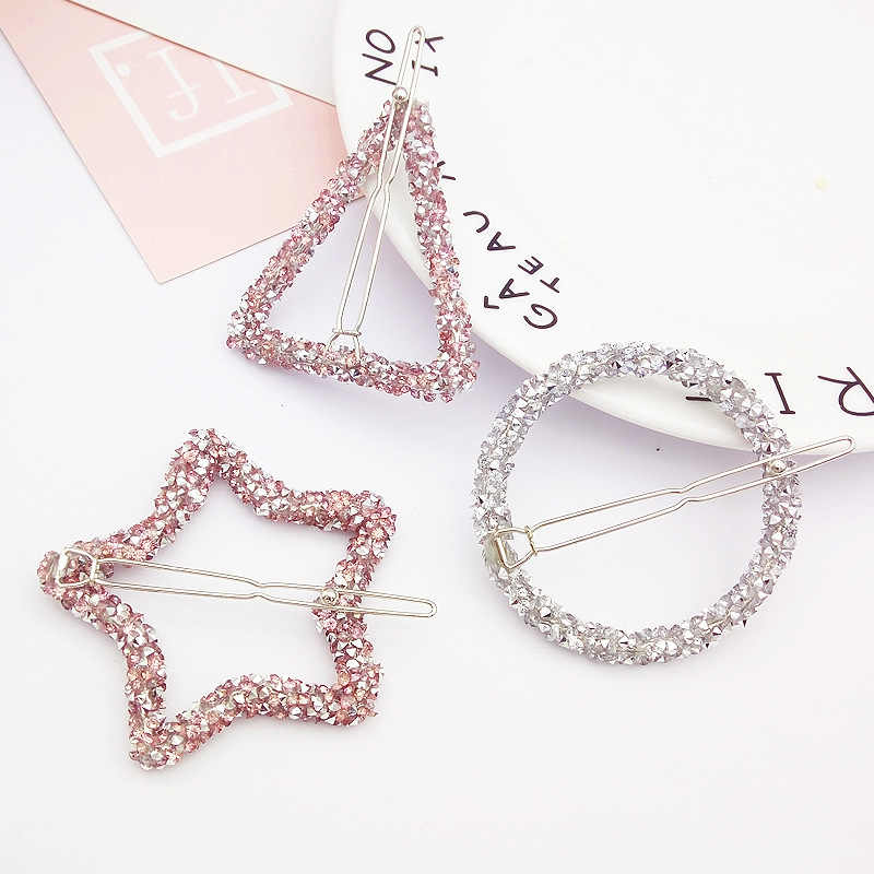 1 PC Women Hair Clips Barrettes Hair Accessories Hairgrips Crystal Rhinestones Geometric Hairpins Star Triangle Round Shape