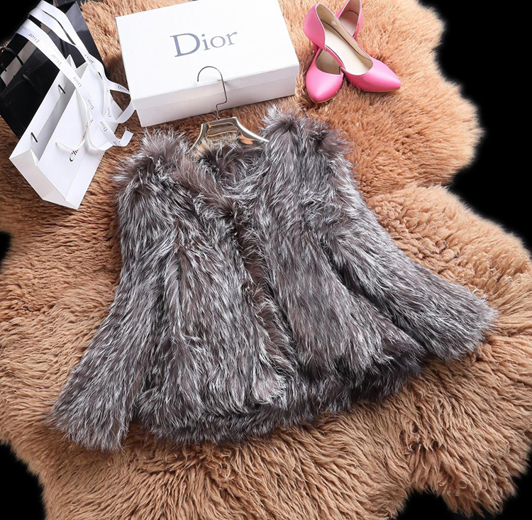 2015 New Arrival 100% Natural Silver Fox Fur Knitted Coat, Women's Real Fox Fur Outerwear SU-1521 EMS Free Shipping 14