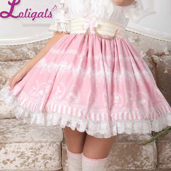 sweet pink lolita crystal chandelier printed a line skirt for lady free