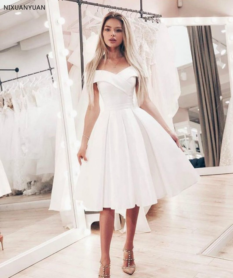 Summer Off Shoulder Short Wedding Dress Simple Knee Length Satin Cheap 2020 New Arrival Bride Dresses White Bridal Gowns